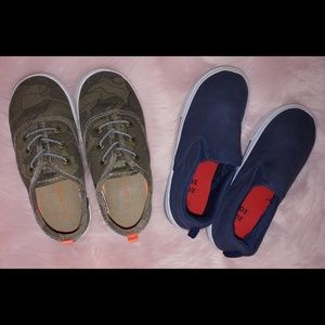 Boys shoes  2 pairs lot camo carter's slip ons